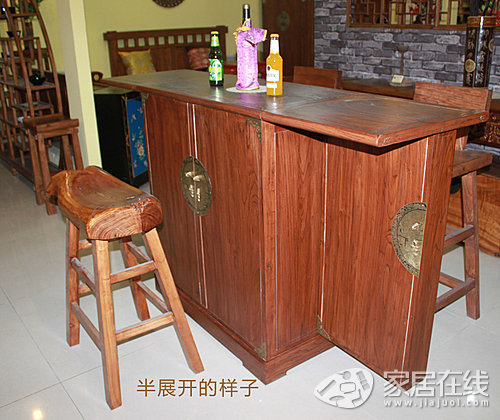 竹韵老榆木酒柜 折叠设计移动灵活方便