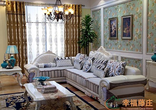【高贵不高价】幸福藤庄 简欧式皮布沙发