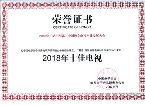 """精造视界之美  夏普煌彩电视荣膺""""2019年十佳电视"""""""
