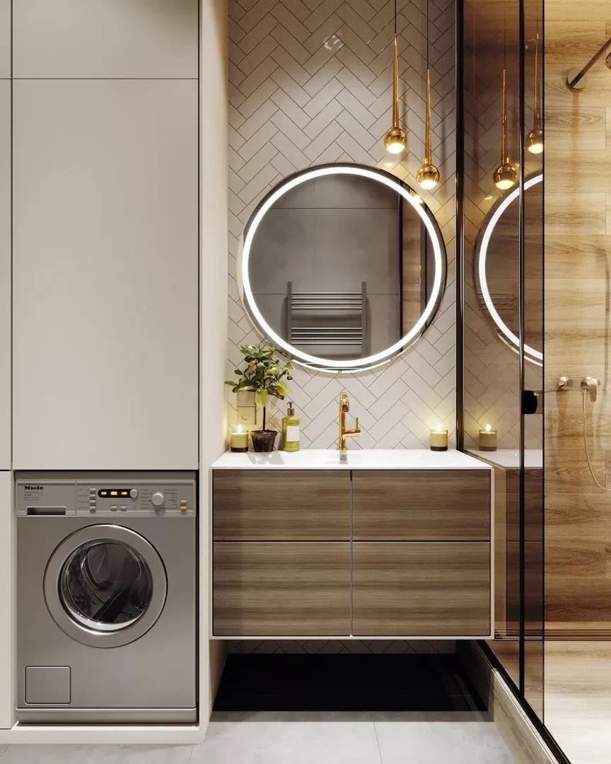 浴室收纳柜嵌入洗衣机