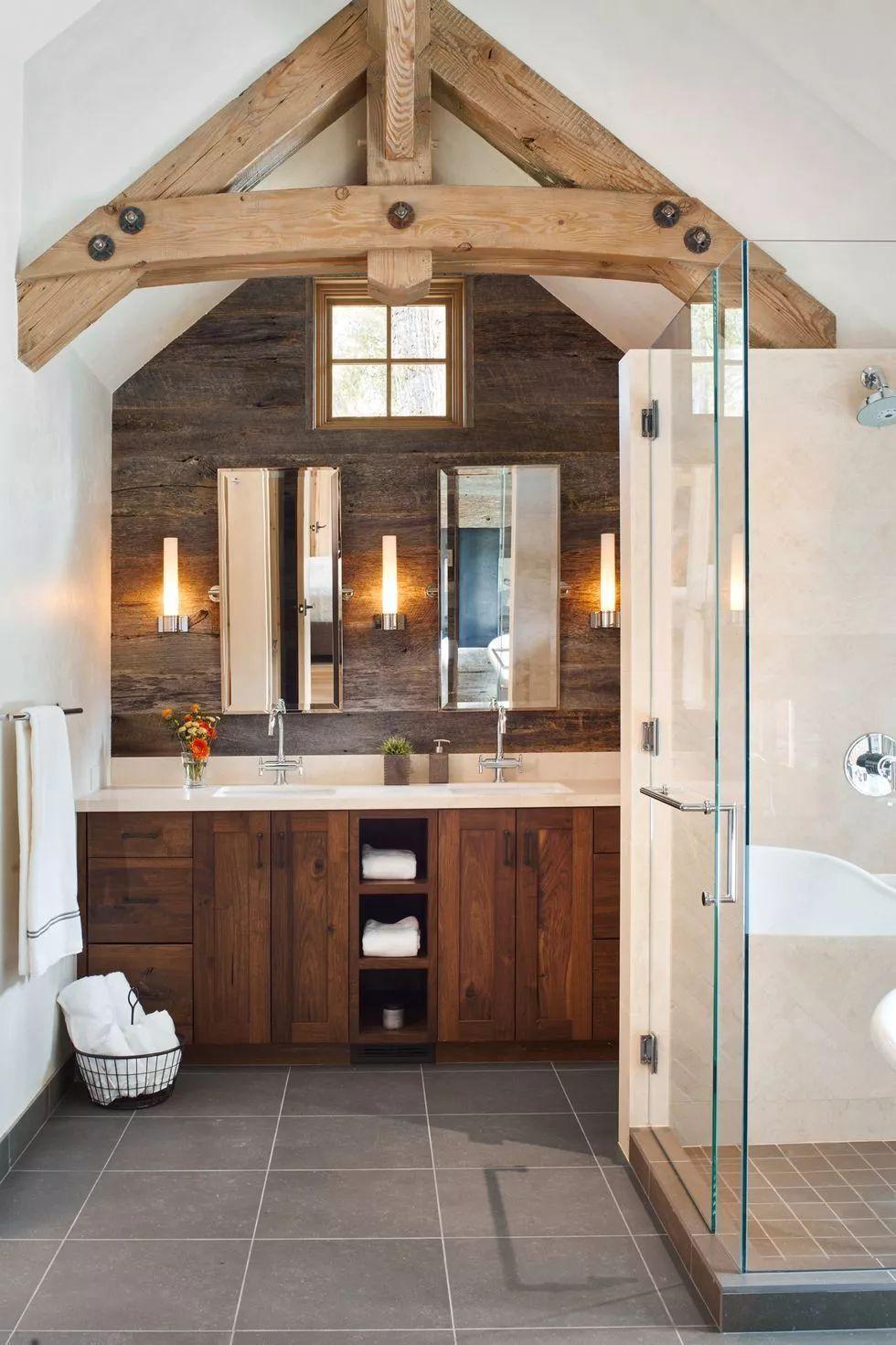 农舍风格步入式淋浴间