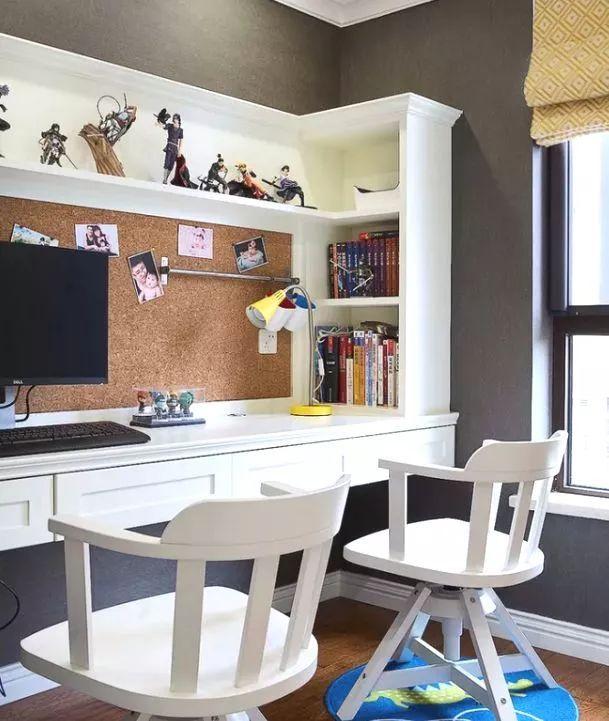 儿童房书桌书柜设计